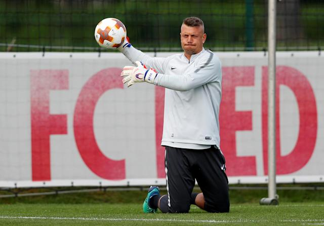 Soccer Football - Europa League - RB Salzburg training - Red Bull training location Taxham in Salzburg, Austria - May 2, 2018. RB Salzburg's goalkeeper Alexander Walker during training. REUTERS/Leonhard Foeger