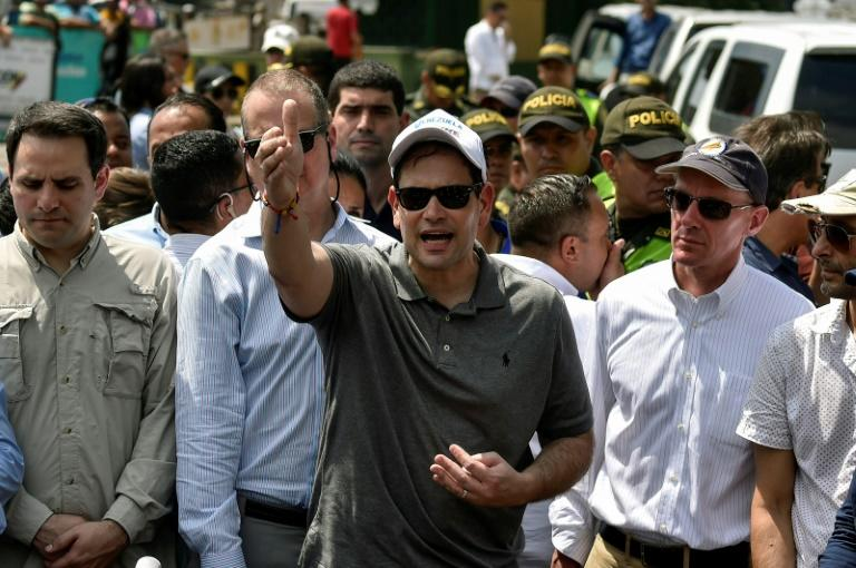 Rubio arrived Sunday in Cucuta for a first-hand look at the aid operations