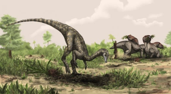 Flowering plants may have been around when the earliest known dinosaurs were around. Here, an artist's illustration of a Nyasasaurus, possibly the oldest known dinosaur, from the Middle Triassic of Tanzania.