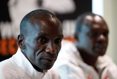 Athletics - Eliud Kipchoge reveals plans to break two hour marathon record - Iffley Road Sports Centre, Oxford, Britain May 6, 2019. Kenya's Eliud Kipchoge speaks to the media REUTERS/Andrew Boyers
