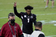 Arizona Cardinals quarterback Kyler Murray (1) leaves the field after an NFL football game against the Seattle Seahawks, Sunday, Oct. 25, 2020, in Glendale, Ariz. The Cardinals won 37-34 in overtime. (AP Photo/Ross D. Franklin)