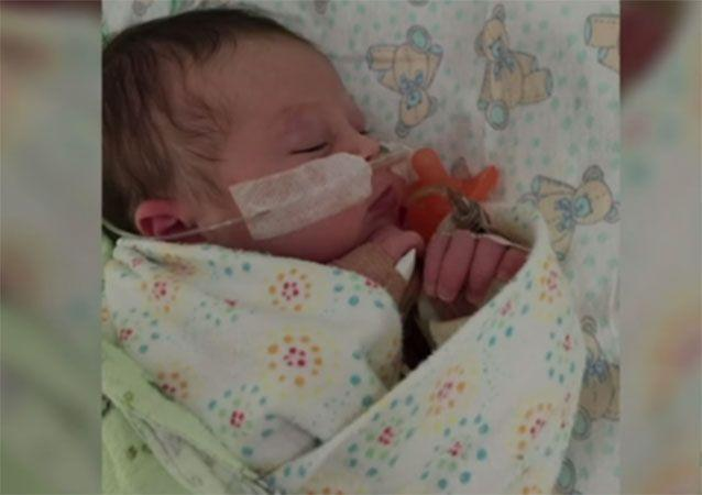 Stella fell ill at just ten days old and was diagnosed with parechovirus. Photo: 7 News