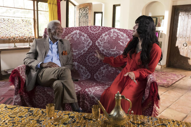 Morgan Freeman meets with Victoria Khan, a transgender Afghan woman, who discusses her harrowing childhood and her journey to personal freedom. (Photo: Justin Lubin/National Geographic)