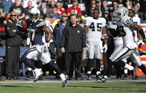 San Diego Chargers kick returner Micheal Spurlock, left, runs the opening kickoff back for a touchdown as Oakland Raiders' Brandian Ross, right, chases during the first half of an NFL football game Sunday, Dec. 30, 2012, in San Diego. (AP Photo/Denis Poroy)