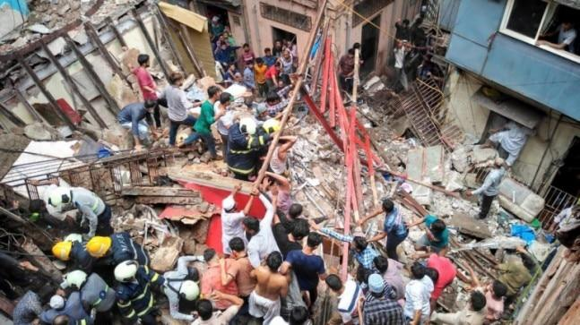 A four-storey building has collapsed in Dongri in Mumbai on Tuesday. Over 40 people are feared to be trapped under the debris. Rescue operations underway.