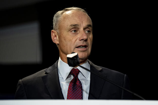 Commissioner Rob Manfred is in no rush to resume the MLB season. (Photo by Billie Weiss/Boston Red Sox/Getty Images)