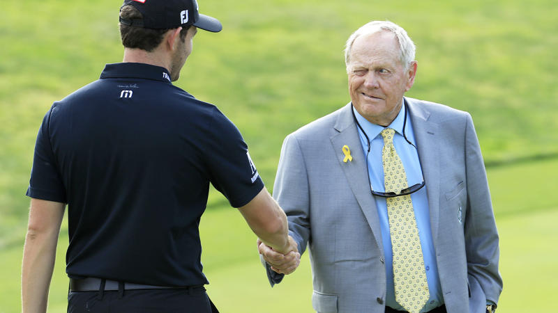 Patrick Cantlay is pictured shaking hands with Jack Nicklaus after winning The Memorial Tournament in 2019.