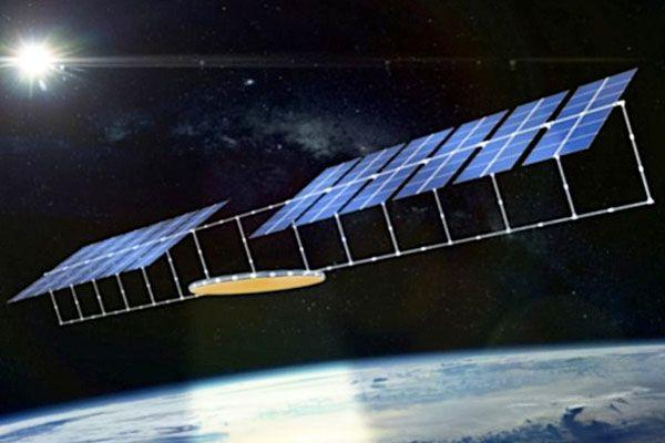 Slide from the presentation Chinese scientists in South Korea showed an early idea for a solar energy project in a space that could transmit energy to Earth.