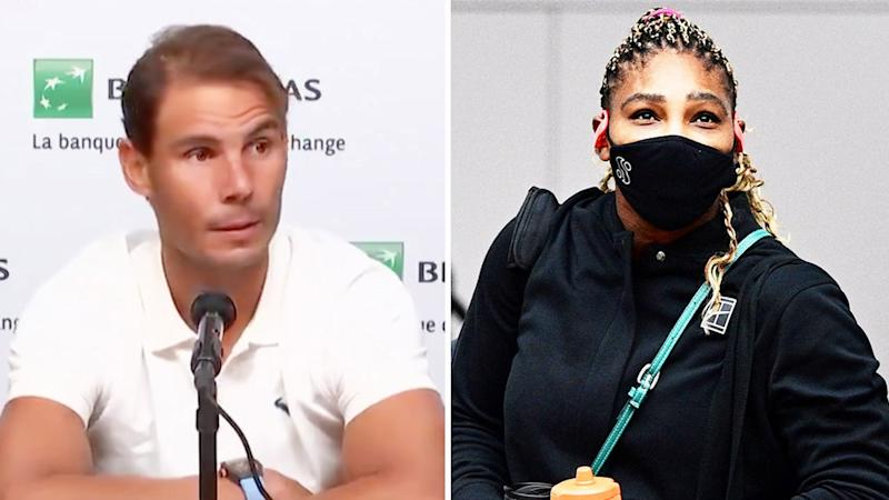 Rafa Nadal (pictured left) during a press conference talking about Serena Williams (pictured right) injury.
