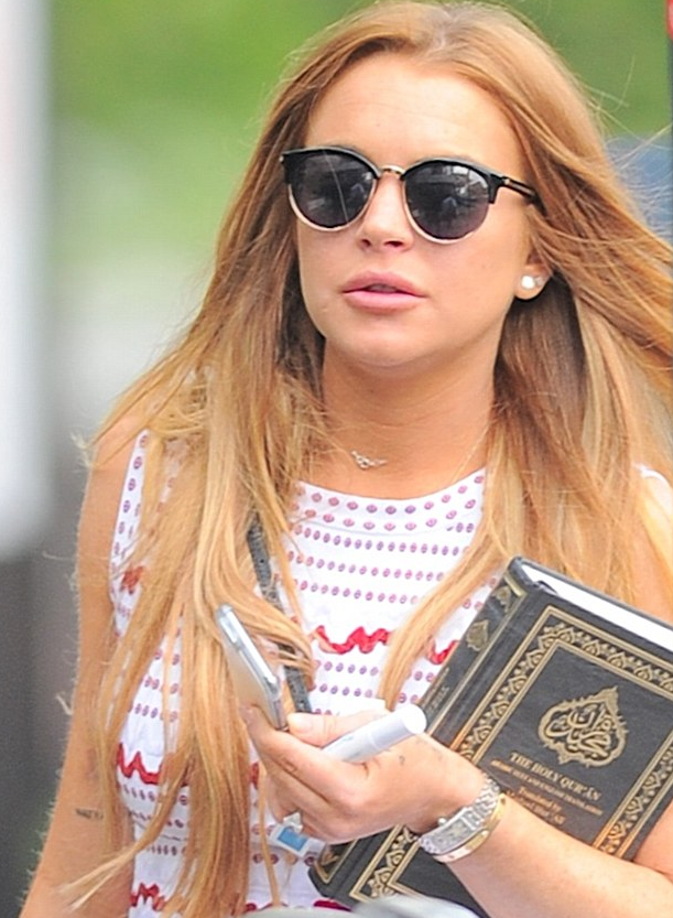 Lindsay was spotted with the Qu'ran.