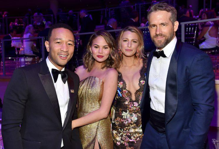 John Legend, Chrissy Teigen, Blake Lively, and Ryan Reynolds posed at the Time 100 Gala. (Photo: Patrick McMullan/Getty Images)