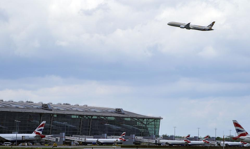 A plane takes off at Heathrow Airport, West London, as thousands of people have departed on international flights after the ban on foreign holidays was lifted for people in Britain.. Picture date: Monday May 17, 2021. (Photo by Steve Parsons/PA Images via Getty Images)