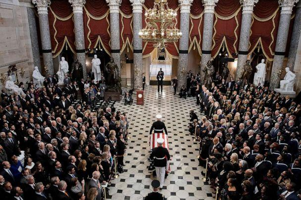 PHOTO: The flag-draped casket of late Maryland Rep. Elijah Cummings is carried through the Capitol during a memorial service in Washington, D.C., Oct. 24, 2019. (Al Drago/Pool via AP)