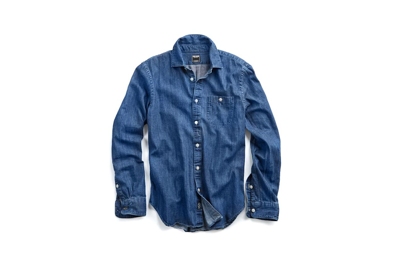 "$148, Todd Snyder. <a href=""https://www.toddsnyder.com/collections/shirts/products/indigo-denim-button-down-shirt-indigo"">Get it now!</a>"