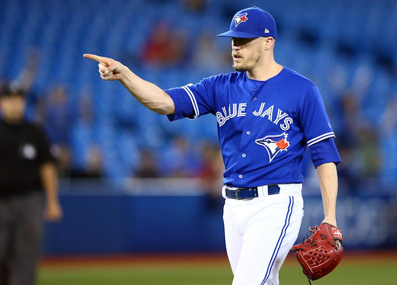 TORONTO, ON - SEPTEMBER 25: Ken Giles #51 of the Toronto Blue Jays reacts after the final out in the ninth inning during a MLB game against the Baltimore Orioles at Rogers Centre on September 25, 2019 in Toronto, Canada. (Photo by Vaughn Ridley/Getty Images)