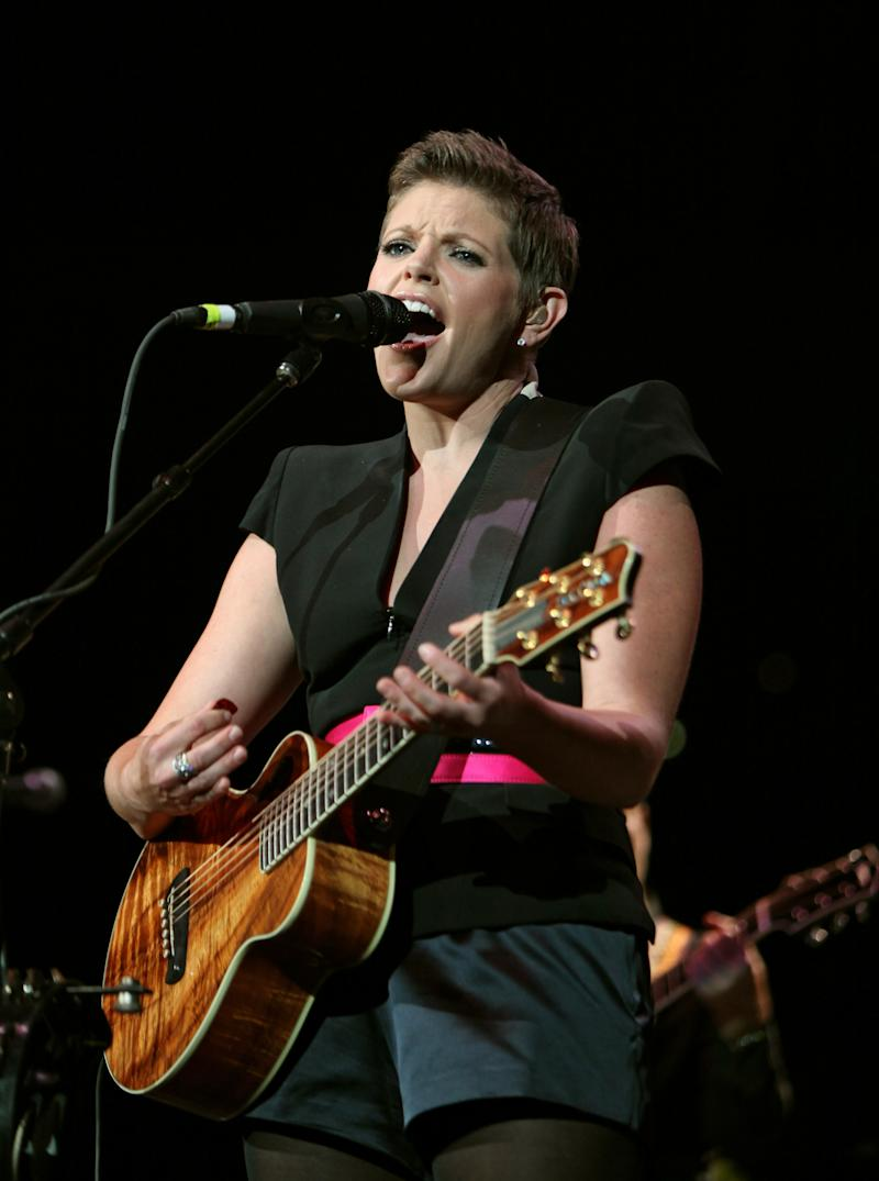 Dixie Chicks lead singer Natalie Maines performs during the Fire Relief, The Concert For Central Texas at the Frank Erwin Center in Austin, Texas, Monday, Oct. 17, 2011 as part of the all-star lineup of Texas musicians organized to help raise money for victims of the late-summer central Texas wildfires.  (AP Photo/Erich Schlegel)