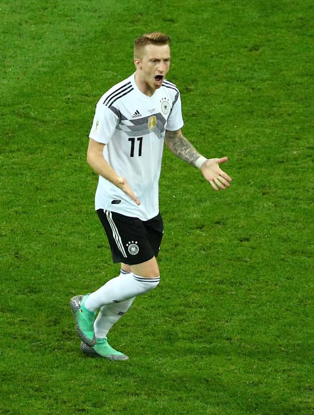 Soccer Football - World Cup - Group F - Germany vs Sweden - Fisht Stadium, Sochi, Russia - June 23, 2018 Germany's Marco Reus celebrates scoring their first goal REUTERS/Hannah McKay