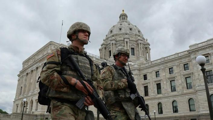 Members of the Minnesota National Guard are seen patrolling around the State Capitol complex in Saint Paul, Minnesota on May 29, 2020 (AFP Photo/Joy POWELL)