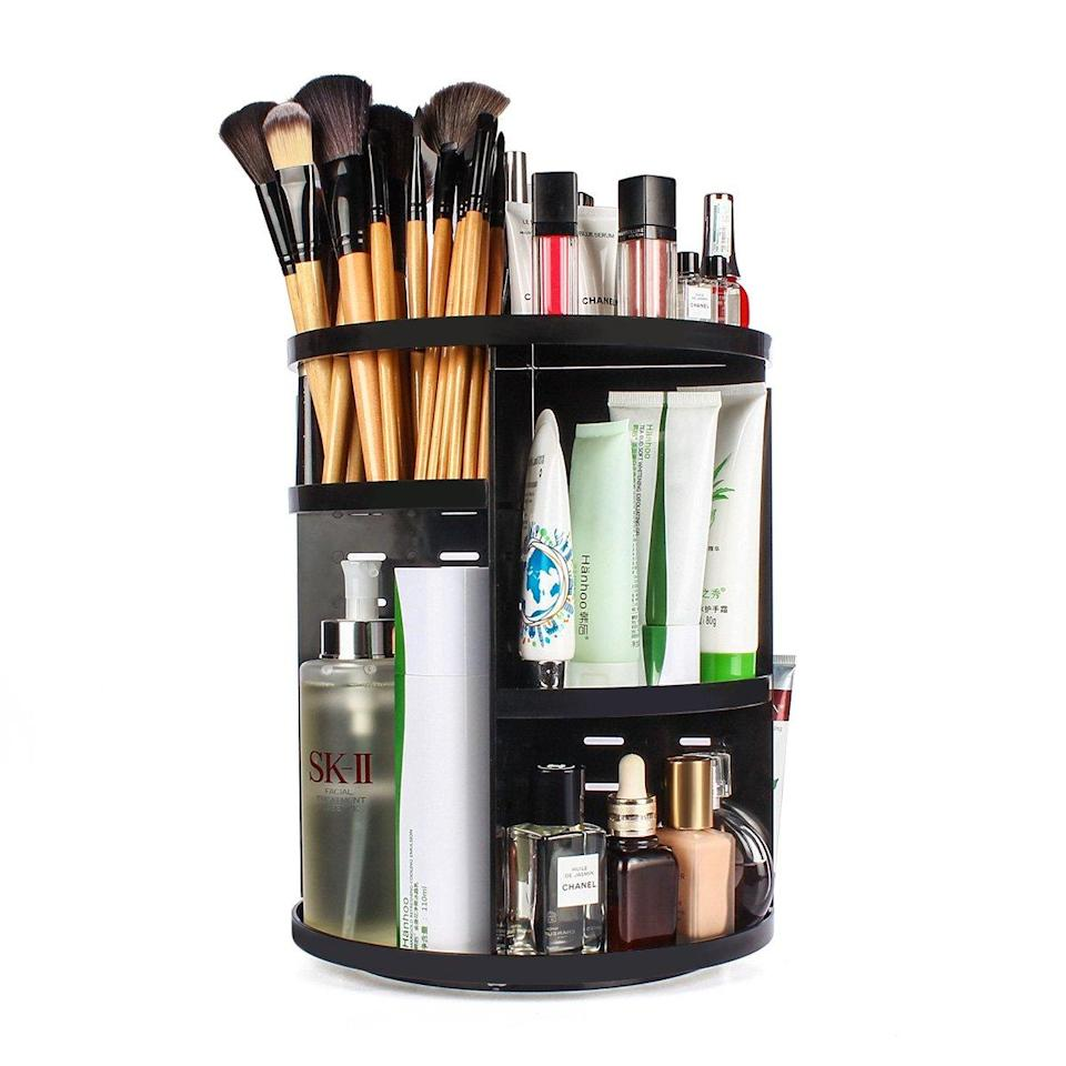 "<h3><strong>Sanipoe 360 Rotating Makeup Organizer</strong></h3><br><strong>The You-Spin-Me-Right-Round Organizer</strong><br><br>Got lots of makeup, but not a lot of space? Make the most out of limited vanity table space with an organizer that gives you easy access to all your daily go-to's.<br><br><strong>The Hype: </strong>4.5 out of 5 stars and 13,149 reviews on <a href=""https://amzn.to/2CSfKT8"" rel=""nofollow noopener"" target=""_blank"" data-ylk=""slk:Amazon"" class=""link rapid-noclick-resp"">Amazon</a><br><br><strong>Organization Obsessives Say: </strong>""I LOVE THIS SPINNING ORGANIZER! I'm so glad I bought this. Assembling this was pretty easy. Instructions are direct and clear. It's a great space saver and I love how it spins so I can find what you want in no time at all. Recommend to girls who have lots of cosmetics just like me."" — Zoooeey_, Amazon Reviewer<br><br><strong>Sanipoe</strong> 360 Rotating Makeup Organizer, $, available at <a href=""https://www.amazon.com/sanipoe-Organizer-Adjustable-Cosmetics-Countertop/dp/B0721PCG3H/ref=sr_1_6"" rel=""nofollow noopener"" target=""_blank"" data-ylk=""slk:Amazon"" class=""link rapid-noclick-resp"">Amazon</a>"