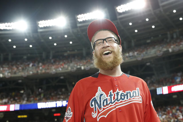 Washington Nationals pitcher Sean Doolitte walks across the field dafter the MLB Home Run Derby, at Nationals Park, Monday, July 16, 2018 in Washington. The 89th MLB baseball All-Star Game will be played Tuesday. (AP Photo/Alex Brandon)