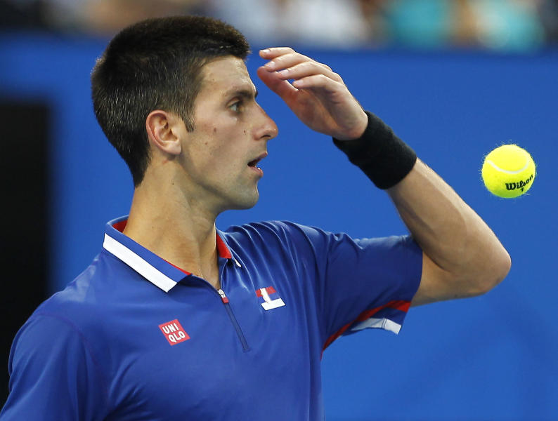 Serbia's Novak Djokovic reacts to a call against Spain's Fernando Verdasco during the men's final at the Hopman Cup tennis tournament in Perth, Australia, Saturday Jan. 5, 2013. Djokovic won the match 6-4, 7-5. (AP Photo/Theron Kirkman)