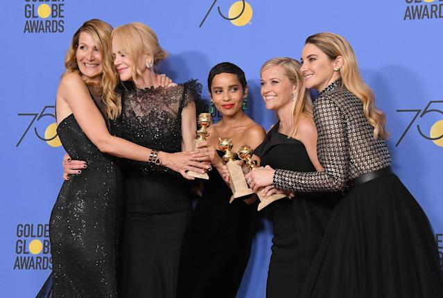 Cast members of <em>Big Little Lies</em> at the Golden Globe Awards. (Photo: Getty Images)