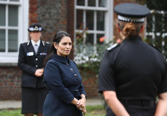 Home secretary Priti Patel said she wants to increase maximum sentencing for people who attack emergency workers to two years. (Gareth Fuller/PA Images via Getty Images)