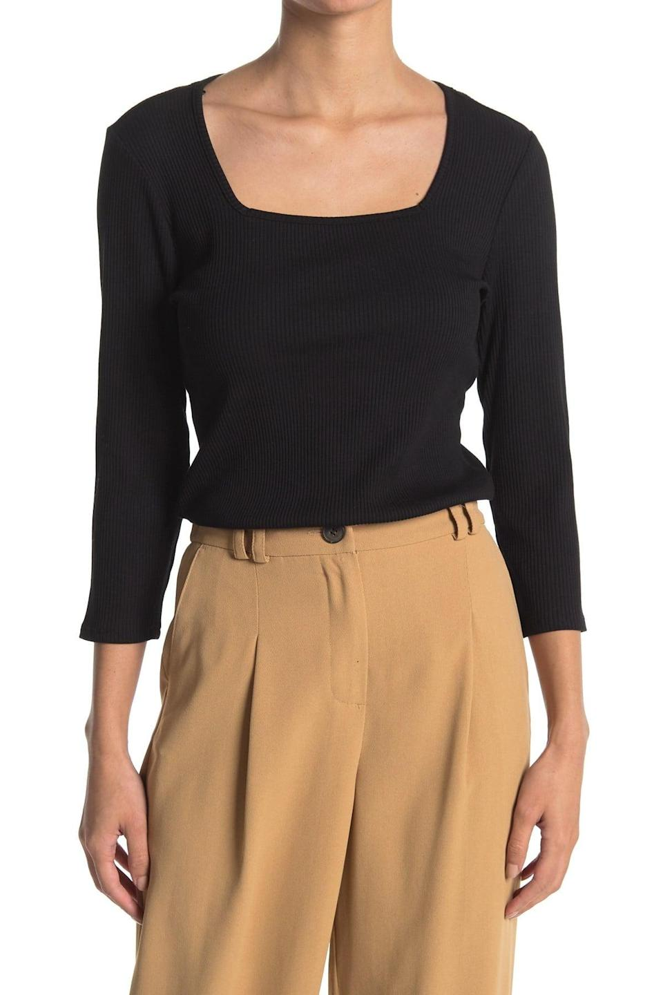 <p>Pair this <span>T Tahari 3/4 Sleeve Square Neck Top</span> ($15, originally $58) with a chunky gold necklace.</p>