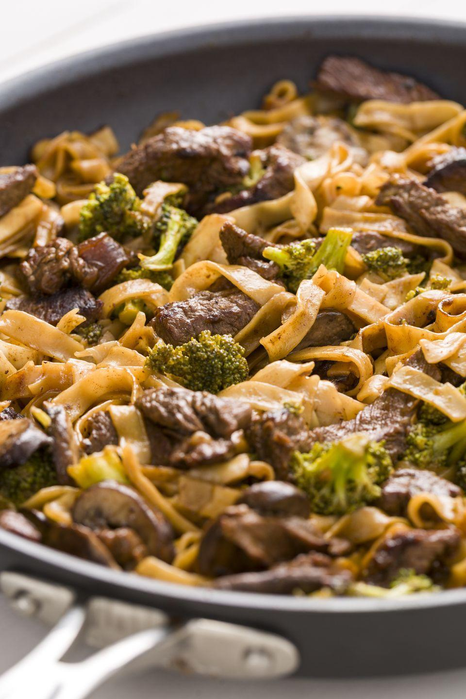 "<p>Leftover flank steak goes perfectly with this savory broccoli and noodles combo.</p><p>Get the recipe from <a href=""https://www.delish.com/cooking/recipe-ideas/recipes/a45477/beef-and-broccoli-noodles-recipe/"" rel=""nofollow noopener"" target=""_blank"" data-ylk=""slk:Delish"" class=""link rapid-noclick-resp"">Delish</a>. </p>"