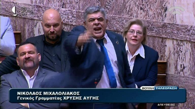 Greece's far-right Golden Dawn party, led byNikolaos Michaloliakos (center), may fare worse this year than it did in the last European Parliament elections. (Photo: AFP Videos)