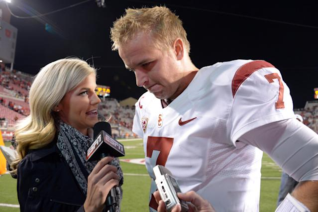 USC quarterback Matt Barkley (7) is interviewed by Samantha Steele after a game against the Utah Utes.