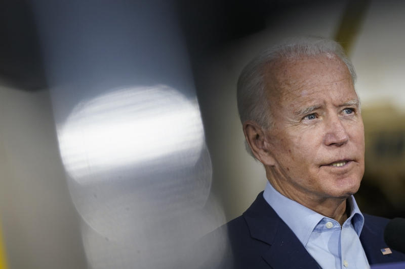 Democratic presidential nominee and former Vice President Joe Biden speaks after touring Jerry Alander Carpenter Training Center on September 18, 2020 in Hermantown, Minnesota. (Drew Angerer/Getty Images)