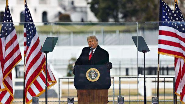 PHOTO: President Donald Trump speaks at the 'Save America March' rally in Washington D.C. on Jan. 06, 2021. (Anadolu Agency via Getty Images)