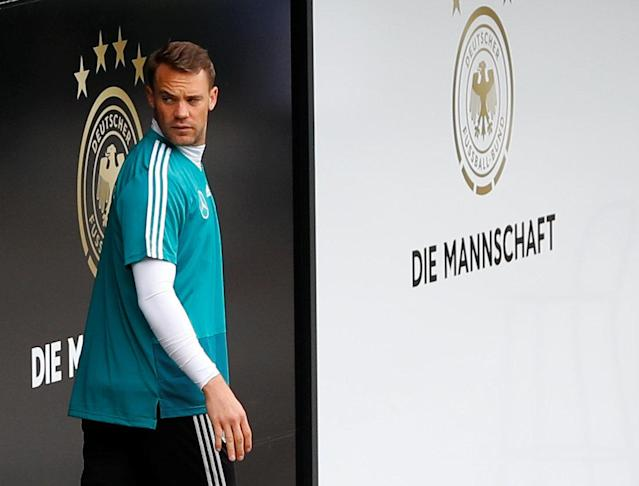 Soccer Football - FIFA World Cup - Germany Training - Eppan, Italy - May 23, 2018. German goalkeeper Manuel Neuer arrives for training. REUTERS/Leonhard Foeger