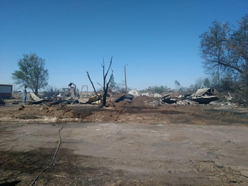 Lloyd Lake and his wife, Delena, lived in the same house in Martha, Oklahoma, for 21 years until a fire destroyed it on Saturday.