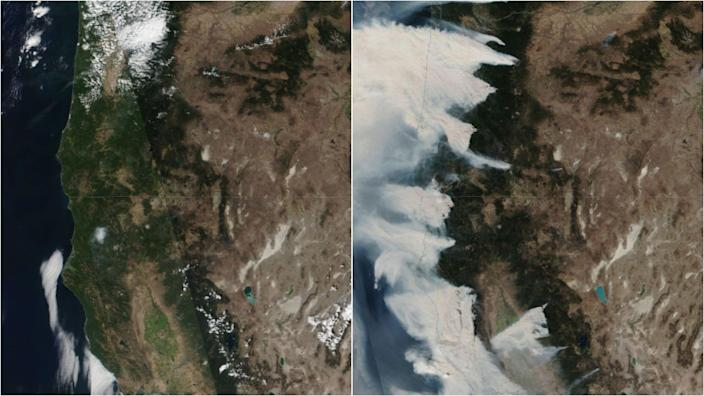 "These satellite images show Oregon and Northern California on August 8, left, and September 8, right. <p class=""copyright"">NASA Worldview</p>"
