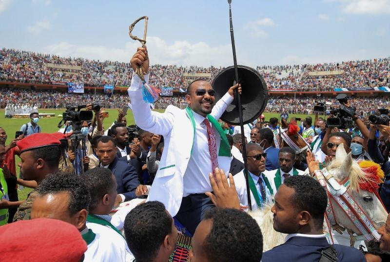 FILE PHOTO: Ethiopian Prime Minister Abiy Ahmed campaigns in Jimma