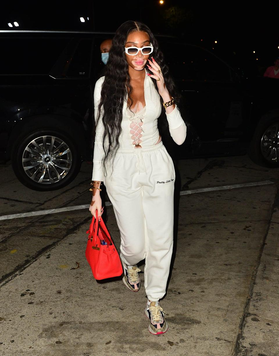 <p>If it's not Winnie Harlow's sunglasses or corsetted athleisure, it's the Gucci sneakers that really got us. </p>