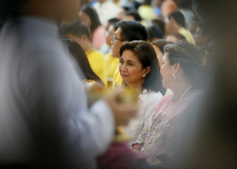 Vice presidential candidate Leni Robredo attends a thanksgiving mass for the peaceful elections Sunday, May 15, 2016 at the Ateneo De Manila campus at suburban Quezon city, northeast of Manila, Philippines. The official count and proclamation of the president and vice president are done by Congress, which will convene May 24. (AP Photo/Bullit Marquez)