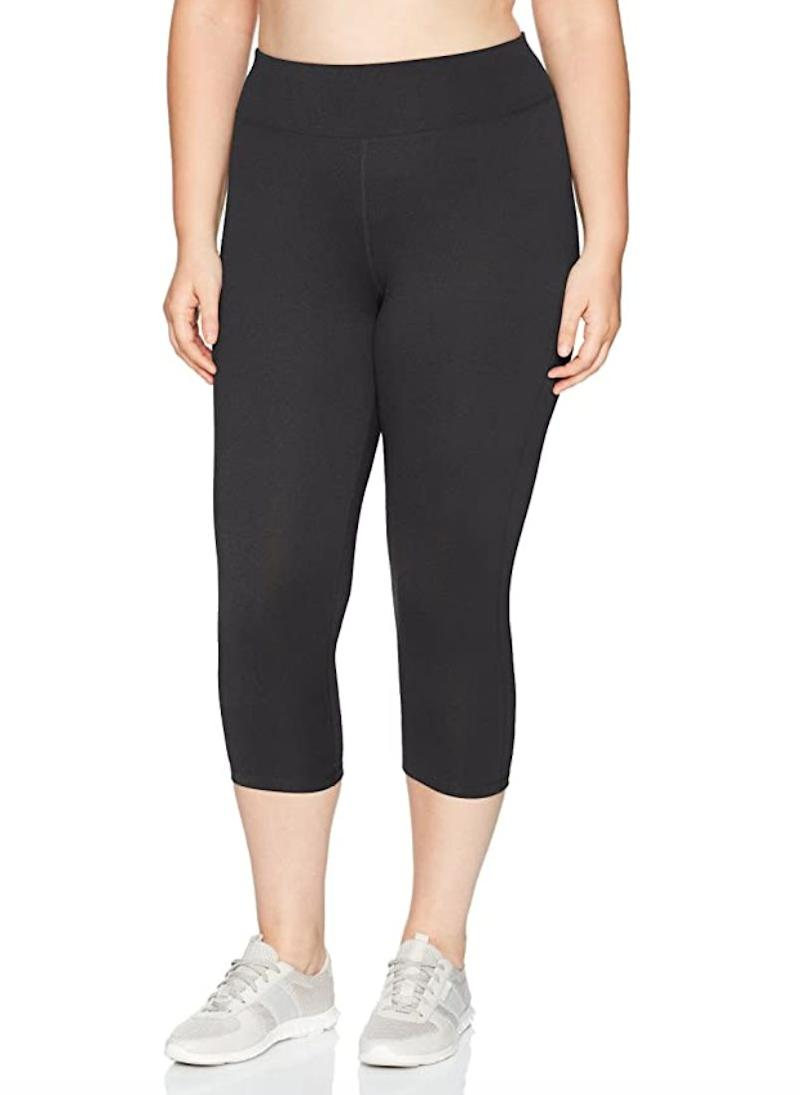 """Made of polyester and spandex, these <a href=""""https://amzn.to/2POBbY5"""" target=""""_blank"""" rel=""""noopener noreferrer"""">capris</a>wick moisture, which will help keep you dry during a workout. They have a wide waistband so they stay comfortable.<br /><br /><strong>Sizes:</strong> These capris come in sizes 1X to 6X.<br /><strong>Rating: </strong>They have a 4.5-star rating over 1,000 reviews.<br /><strong>$$$:</strong> <a href=""""https://amzn.to/2XU2lkY"""" target=""""_blank"""" rel=""""noopener noreferrer"""">Find them starting at $14 on Amazon</a>."""