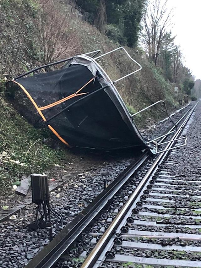 Network Rail Kent released a photo of a trampoline on the railwayline between Sevenoat and Orpington. (PA)