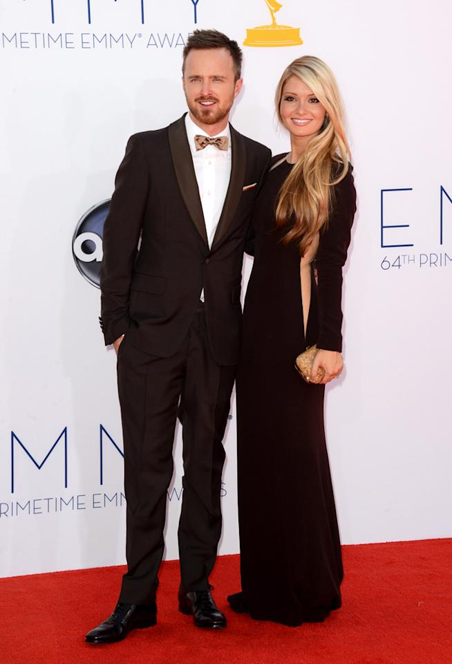 Aaron Paul and Lauren Parsekian at the 64th Primetime Emmy Awards at the Nokia Theatre in Los Angeles on September 23, 2012.