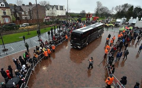 Roma bus arrives unmolested - Credit:  Andrew Powell/Liverpool FC via Getty Images