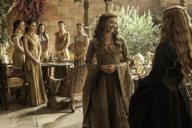 "<p>After several seasons of sporting blue, Margaery began wearing gold — a color of House Lannister — after she married Tommen. And the change was meant to highlight her transition to queen… and further her rivalry with Cersei. ""It's funny, I wanted her to be a bit more like Cersei, with the metal armor look,"" Clapton told <a href=""https://fashionista.com/2015/06/game-of-thrones-season-5-costume-designer-interview"" rel=""nofollow noopener"" target=""_blank"" data-ylk=""slk:Fashionista"" class=""link rapid-noclick-resp"">Fashionista</a>.<br><br>(Photo Credit: HBO) </p>"