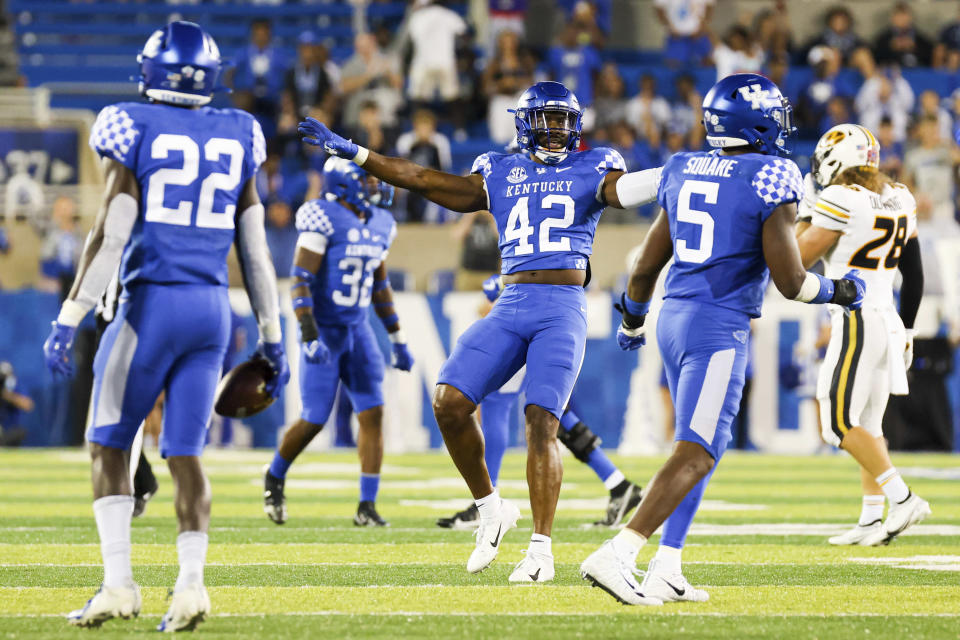 Kentucky linebacker Marquez Bembry (42) celebrates stopping a Missouri drive late in the fourth quarter of an NCAA college football game in Lexington, Ky., Saturday, Sept. 11, 2021. (AP Photo/Michael Clubb)