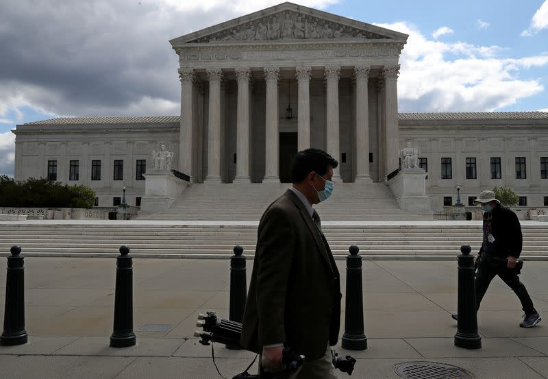 FILE PHOTO: View of U.S. Supreme Court as justices hear oral arguments over access to Trump financial records in Washington