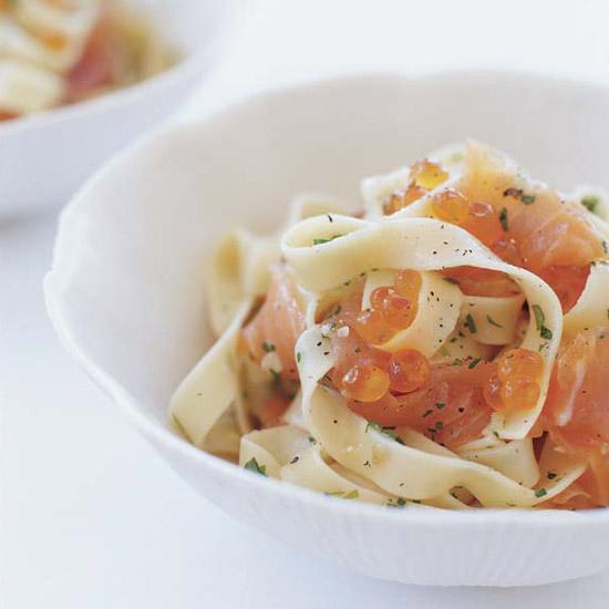 """<div class=""""caption-credit""""> Photo by: Tina Rupp</div><div class=""""caption-title"""">Pasta with Salmon Caviar</div><b><a href=""""http://www.foodandwine.com/recipes/pasta-with-salmon-caviar"""">Pasta with Salmon Caviar</a></b> <br> Juicy salmon eggs add a delicate crunch to this luxurious pasta dish. If you prefer a more subtle fish flavor, substitute trout roe and smoked trout for the salmon roe and smoked salmon."""
