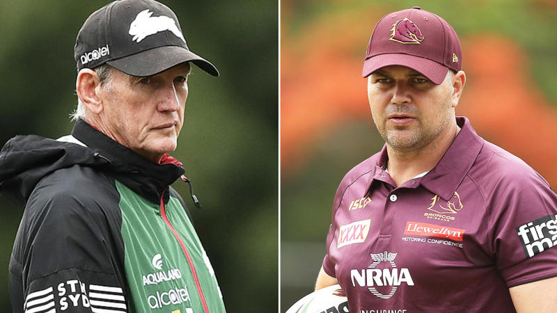 Wayne Bennett (pictured left) at Rabbitohs training and Anthony Seibold (pictured right) at Broncos training.