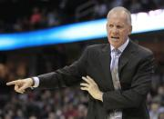Philadelphia 76ers head coach Doug Collins reacts in the second quarter in an NBA basketball game against the Cleveland Cavaliers Wednesday, April 18, 2012, in Cleveland. The 76ers won 103-87. (AP Photo/Tony Dejak)
