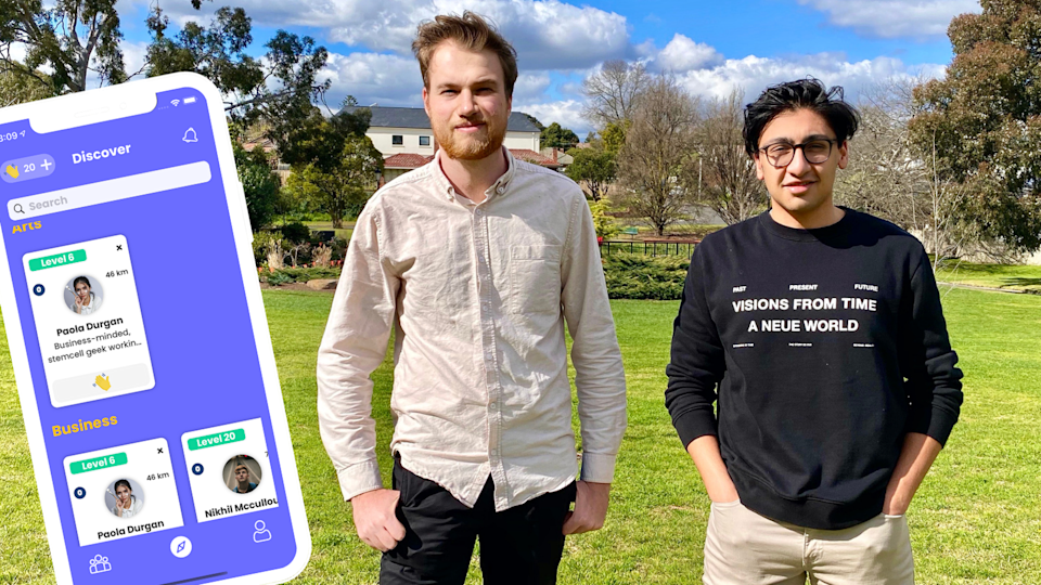 image of Grouptag cofounders Joe Gibbs and Dhruv Verma, with an image of the app superimposed on the left
